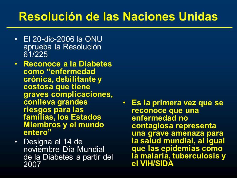 Resolución de las Naciones Unidas El 20-dic-2006 la ONU aprueba la Resolución 61/225 Reconoce a la Diabetes como enfermedad crónica, debilitante y cos