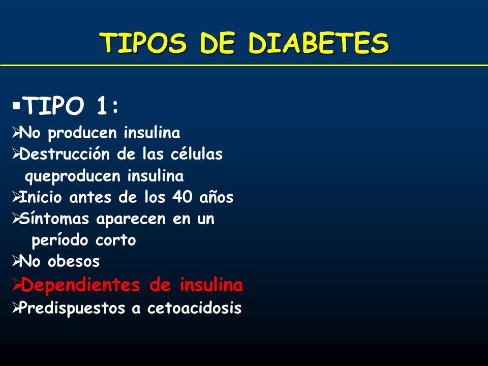 TIPOS DE DIABETES TIPO 1: No producen insulina Destrucción de las células queproducen insulina Inicio antes de los 40 años Síntomas aparecen en un per