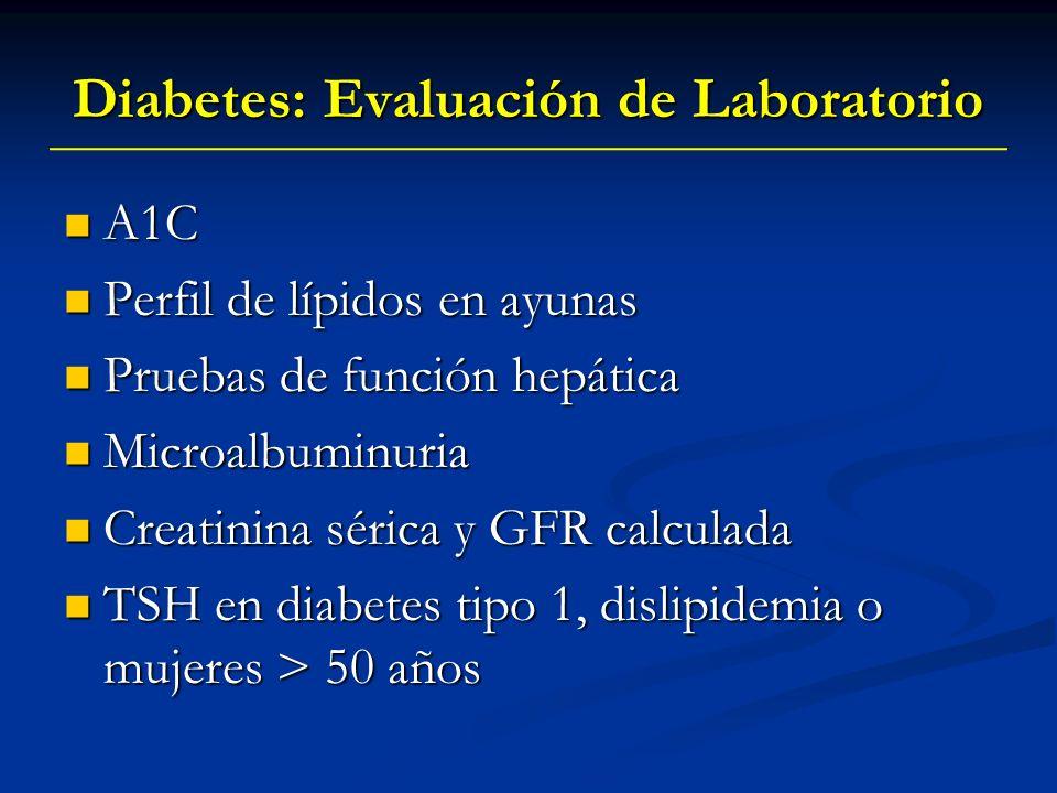 Diabetes: Evaluación de Laboratorio A1C A1C Perfil de lípidos en ayunas Perfil de lípidos en ayunas Pruebas de función hepática Pruebas de función hep