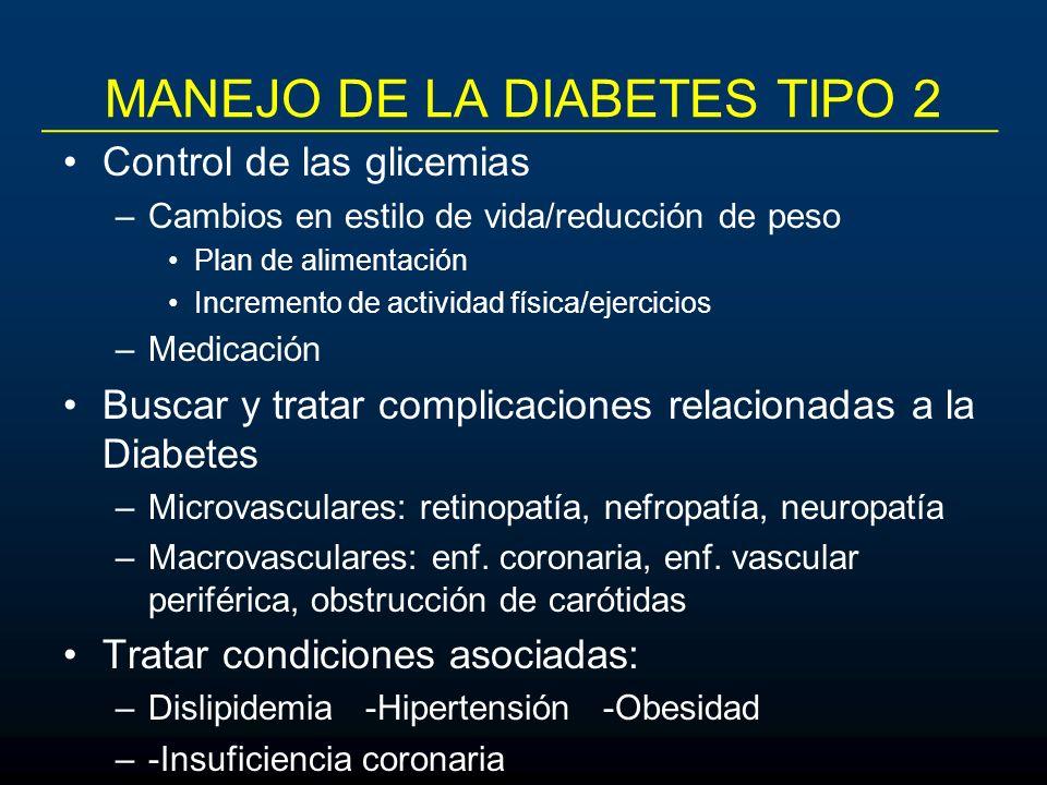 MANEJO DE LA DIABETES TIPO 2 Control de las glicemias –Cambios en estilo de vida/reducción de peso Plan de alimentación Incremento de actividad física