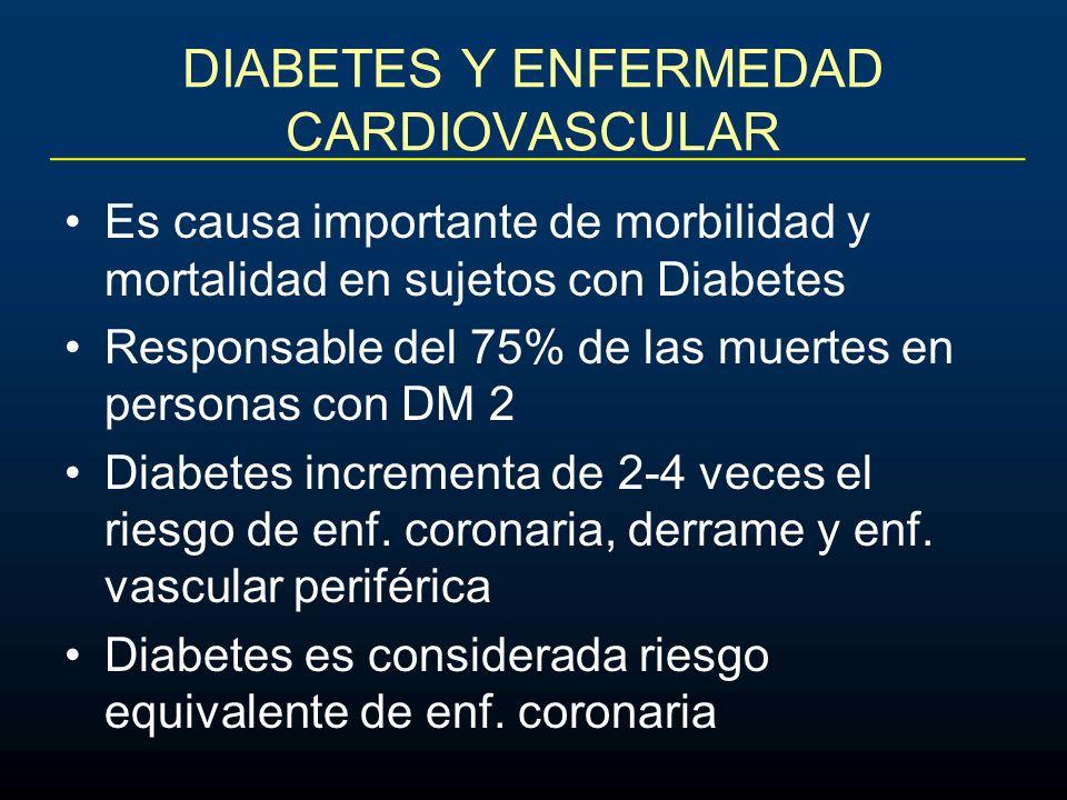 DIABETES Y ENFERMEDAD CARDIOVASCULAR Es causa importante de morbilidad y mortalidad en sujetos con Diabetes Responsable del 75% de las muertes en pers