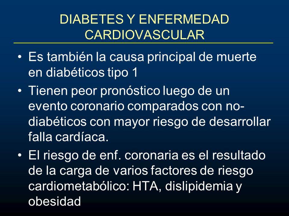 DIABETES Y ENFERMEDAD CARDIOVASCULAR Es también la causa principal de muerte en diabéticos tipo 1 Tienen peor pronóstico luego de un evento coronario