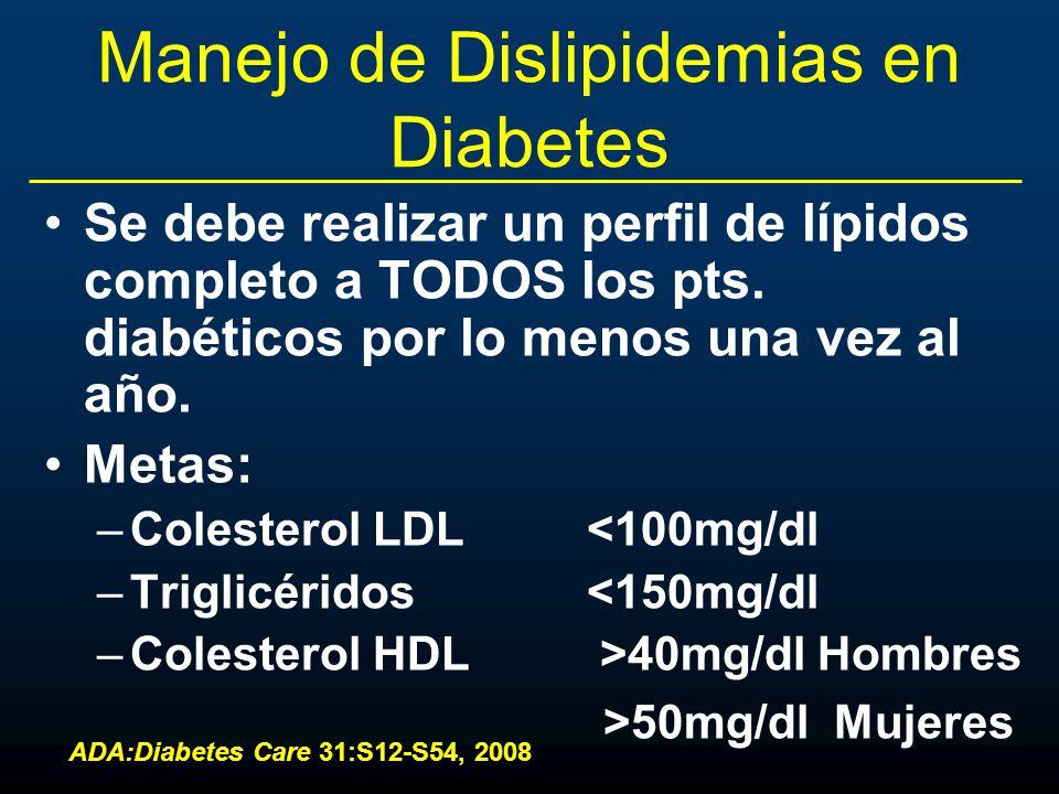 Manejo de Dislipidemias en Diabetes Se debe realizar un perfil de lípidos completo a TODOS los pts. diabéticos por lo menos una vez al año. Metas: –Co