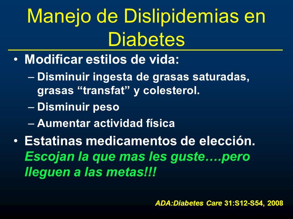 Manejo de Dislipidemias en Diabetes Modificar estilos de vida: –Disminuir ingesta de grasas saturadas, grasas transfat y colesterol. –Disminuir peso –