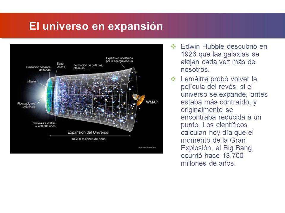 El universo en expansión Edwin Hubble descubrió en 1926 que las galaxias se alejan cada vez más de nosotros.