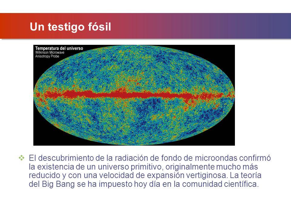 Un testigo fósil El descubrimiento de la radiación de fondo de microondas confirmó la existencia de un universo primitivo, originalmente mucho más reducido y con una velocidad de expansión vertiginosa.