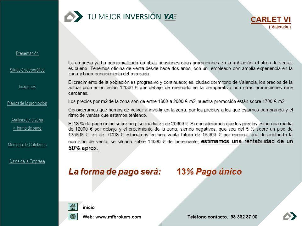 La forma de pago será: 13% Pago único CARLET VI ( Valencia ) Presentación Situación geográfica Imágenes Planos de la promoción Análisis de la zona y f