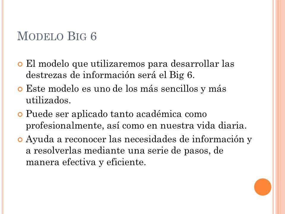 M ODELO B IG 6 El modelo que utilizaremos para desarrollar las destrezas de información será el Big 6. Este modelo es uno de los más sencillos y más u