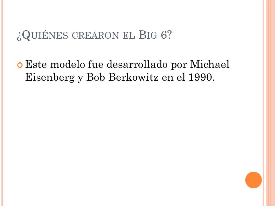 ¿Q UIÉNES CREARON EL B IG 6? Este modelo fue desarrollado por Michael Eisenberg y Bob Berkowitz en el 1990.