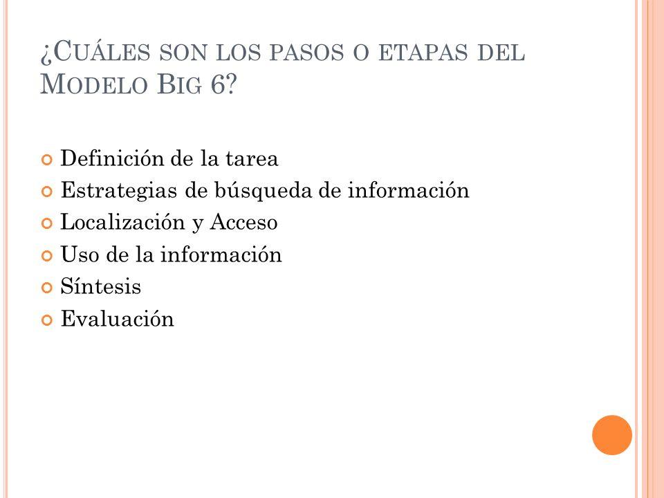 ¿C UÁLES SON LOS PASOS O ETAPAS DEL M ODELO B IG 6? Definición de la tarea Estrategias de búsqueda de información Localización y Acceso Uso de la info
