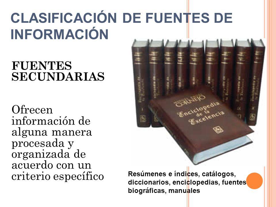 FUENTES SECUNDARIAS Ofrecen información de alguna manera procesada y organizada de acuerdo con un criterio específico Resúmenes e índices, catálogos,
