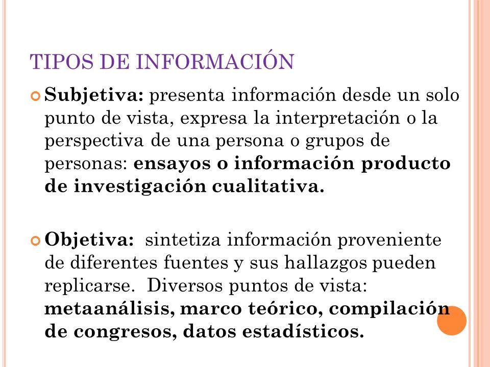 Subjetiva: presenta información desde un solo punto de vista, expresa la interpretación o la perspectiva de una persona o grupos de personas: ensayos