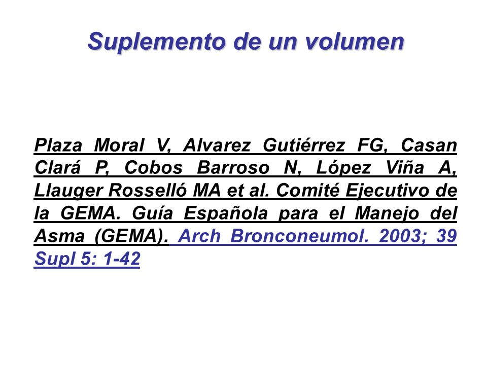 Suplemento de un volumen Plaza Moral V, Alvarez Gutiérrez FG, Casan Clará P, Cobos Barroso N, López Viña A, Llauger Rosselló MA et al. Comité Ejecutiv