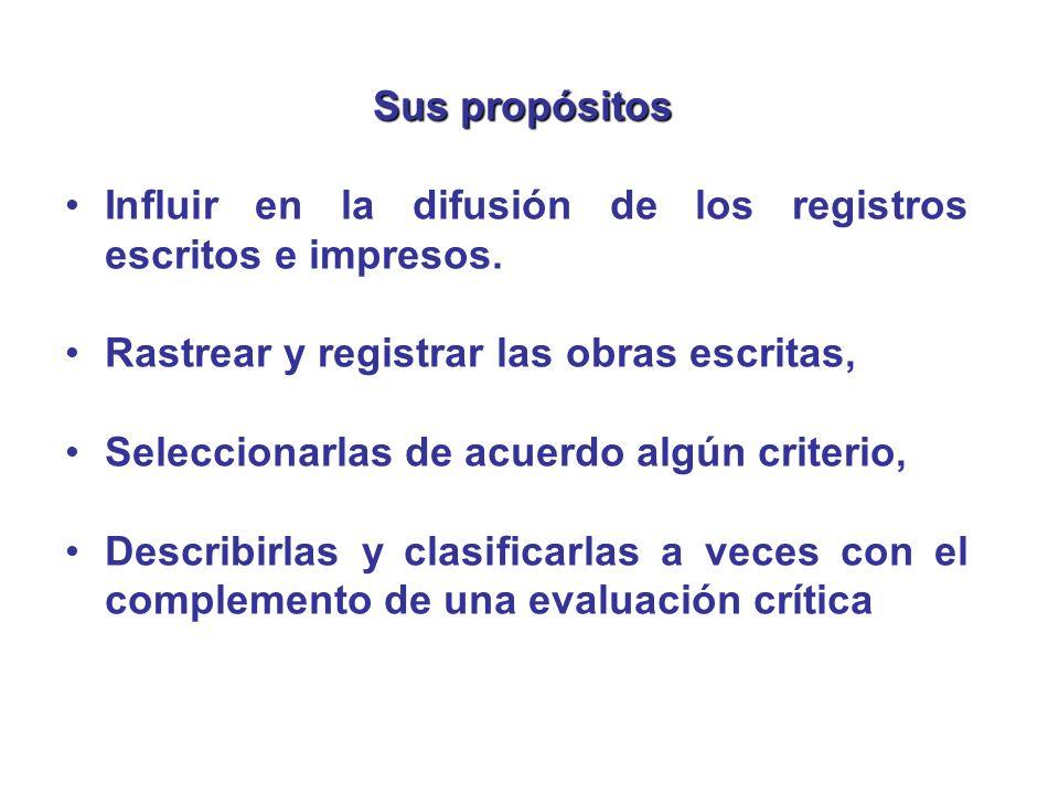 Sus propósitos Influir en la difusión de los registros escritos e impresos. Rastrear y registrar las obras escritas, Seleccionarlas de acuerdo algún c