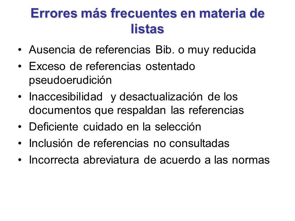 Errores más frecuentes en materia de listas Ausencia de referencias Bib. o muy reducida Exceso de referencias ostentado pseudoerudición Inaccesibilida