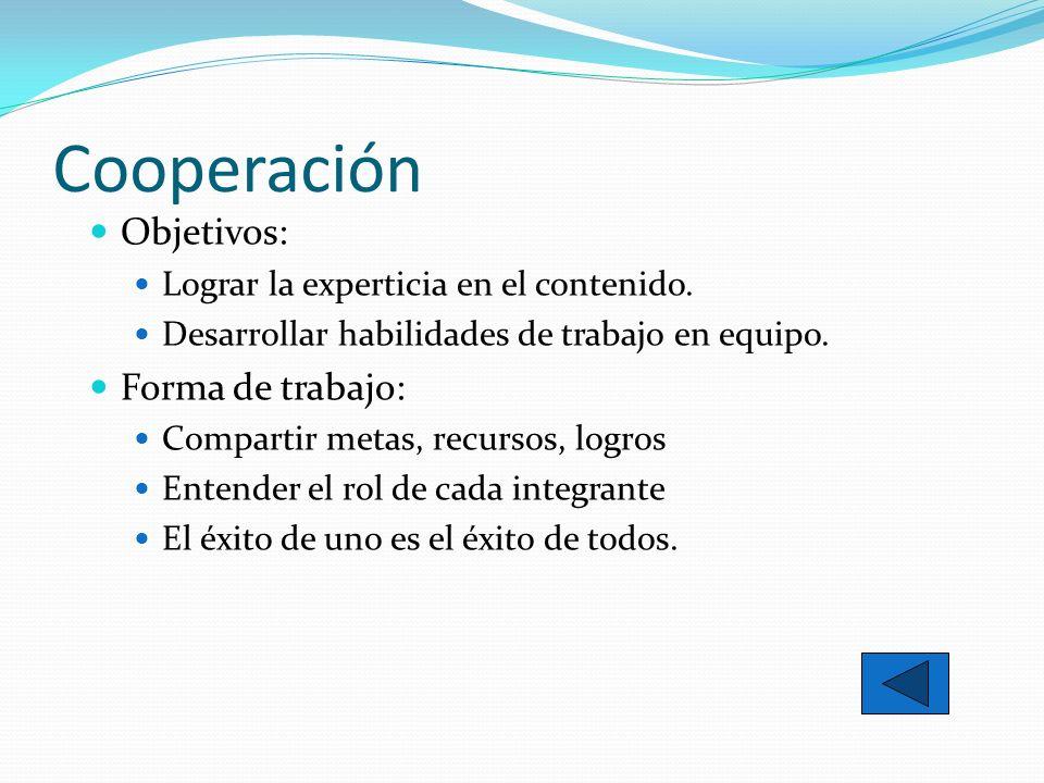 Cooperación Objetivos: Lograr la experticia en el contenido. Desarrollar habilidades de trabajo en equipo. Forma de trabajo: Compartir metas, recursos