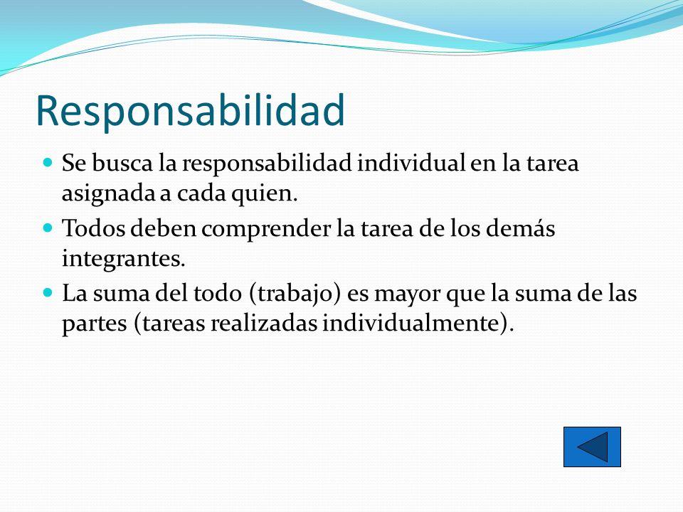 Responsabilidad Se busca la responsabilidad individual en la tarea asignada a cada quien. Todos deben comprender la tarea de los demás integrantes. La