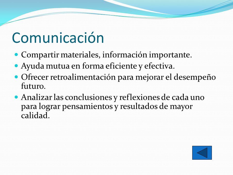 Comunicación Compartir materiales, información importante. Ayuda mutua en forma eficiente y efectiva. Ofrecer retroalimentación para mejorar el desemp