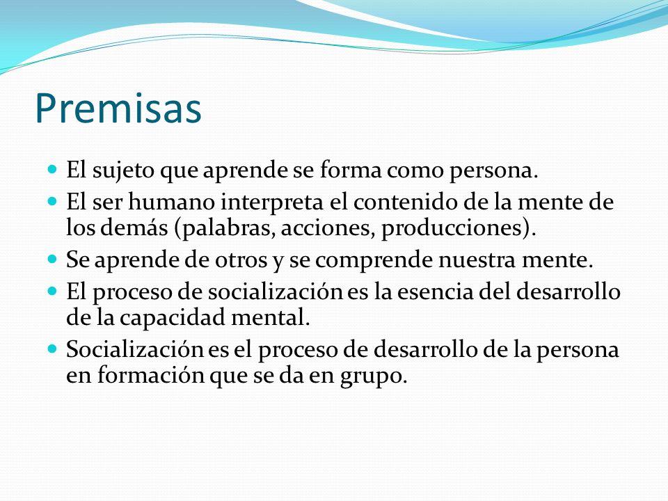 Premisas El sujeto que aprende se forma como persona. El ser humano interpreta el contenido de la mente de los demás (palabras, acciones, producciones