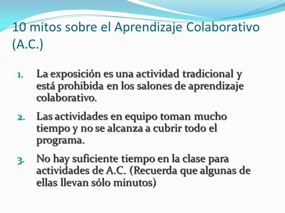 10 mitos sobre el Aprendizaje Colaborativo (A.C.) 1. La exposición es una actividad tradicional y está prohibida en los salones de aprendizaje colabor