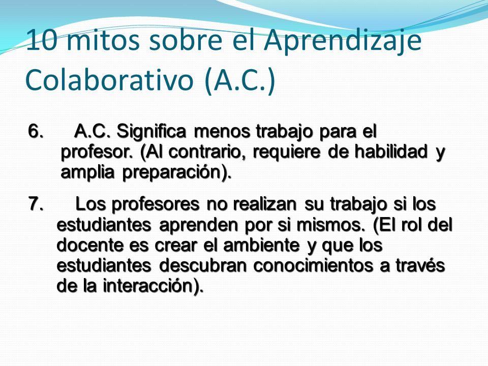 6. A.C. Significa menos trabajo para el profesor. (Al contrario, requiere de habilidad y amplia preparación). 7. Los profesores no realizan su trabajo