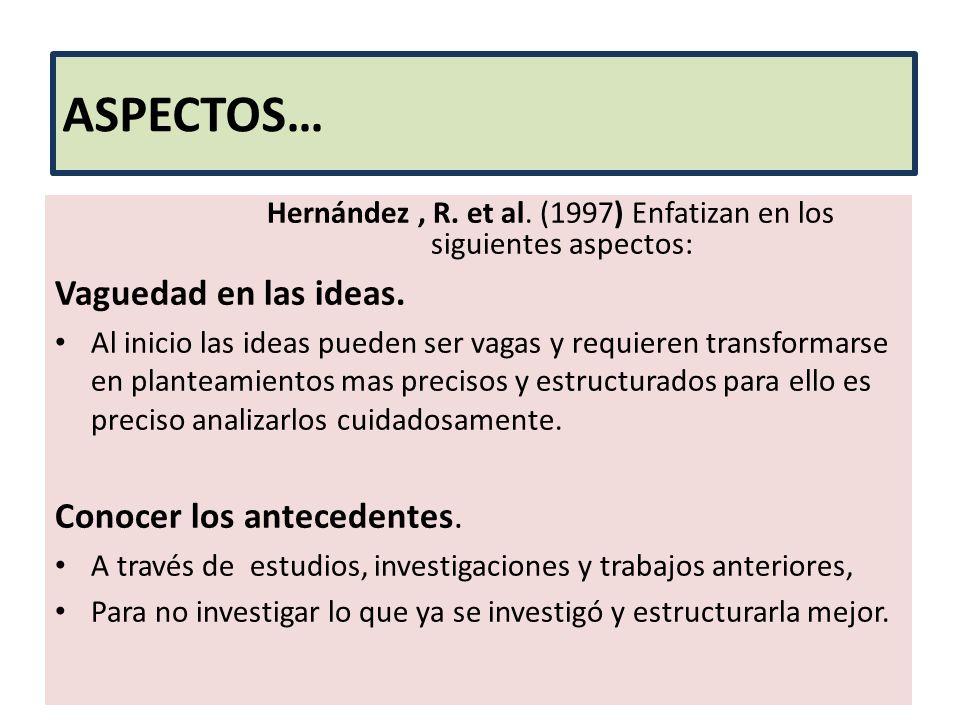 ASPECTOS… Hernández, R. et al. (1997) Enfatizan en los siguientes aspectos: Vaguedad en las ideas. Al inicio las ideas pueden ser vagas y requieren tr