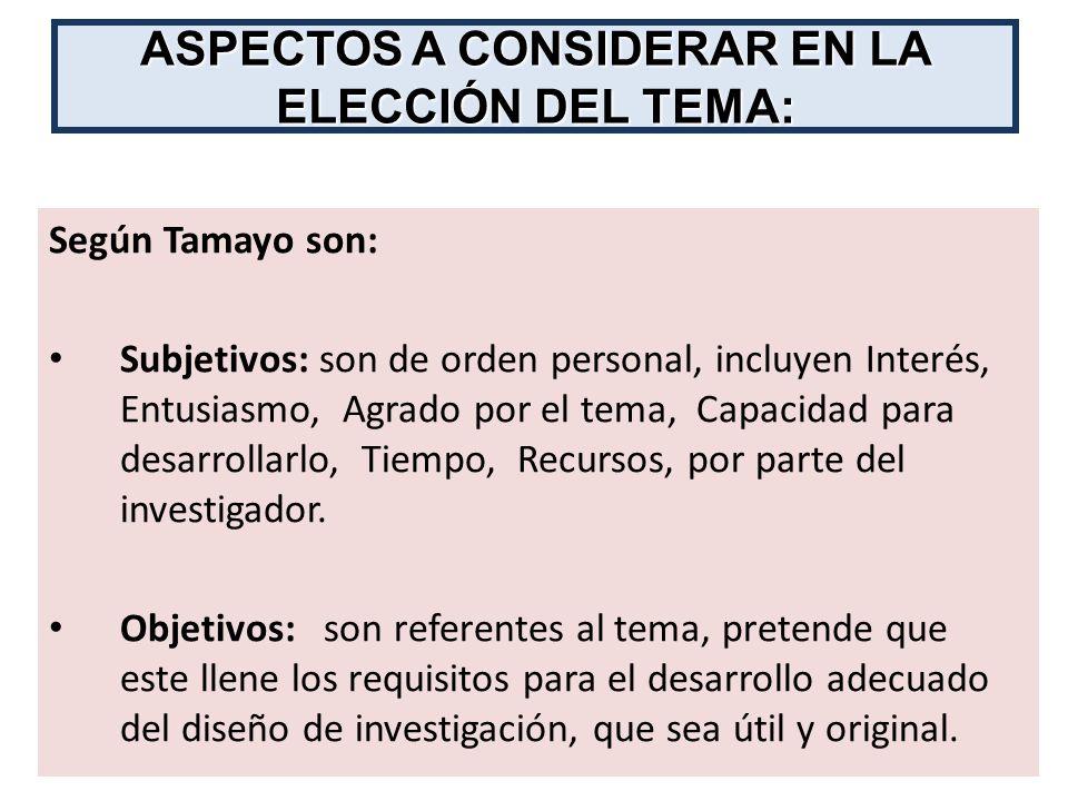 Según Tamayo son: Subjetivos: son de orden personal, incluyen Interés, Entusiasmo, Agrado por el tema, Capacidad para desarrollarlo, Tiempo, Recursos,