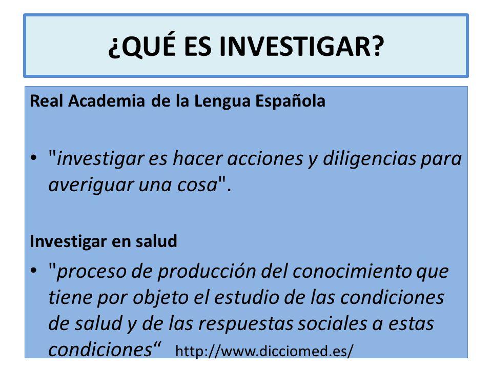 ¿QUÉ ES INVESTIGAR? Real Academia de la Lengua Española