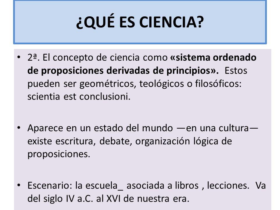 ¿QUÉ ES CIENCIA? 2ª. El concepto de ciencia como «sistema ordenado de proposiciones derivadas de principios». Estos pueden ser geométricos, teológicos