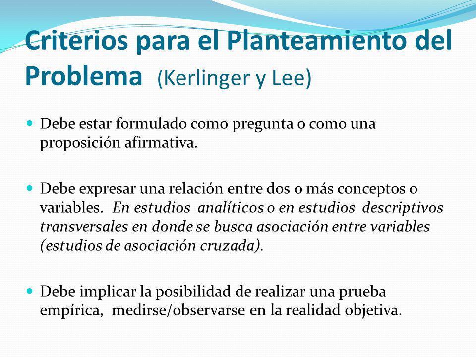 Criterios para el Planteamiento del Problema ( Kerlinger y Lee) Debe estar formulado como pregunta o como una proposición afirmativa. Debe expresar un