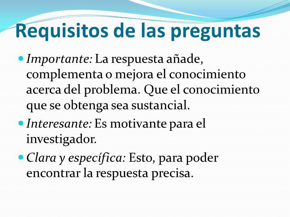 Requisitos de las preguntas Importante: La respuesta añade, complementa o mejora el conocimiento acerca del problema. Que el conocimiento que se obten