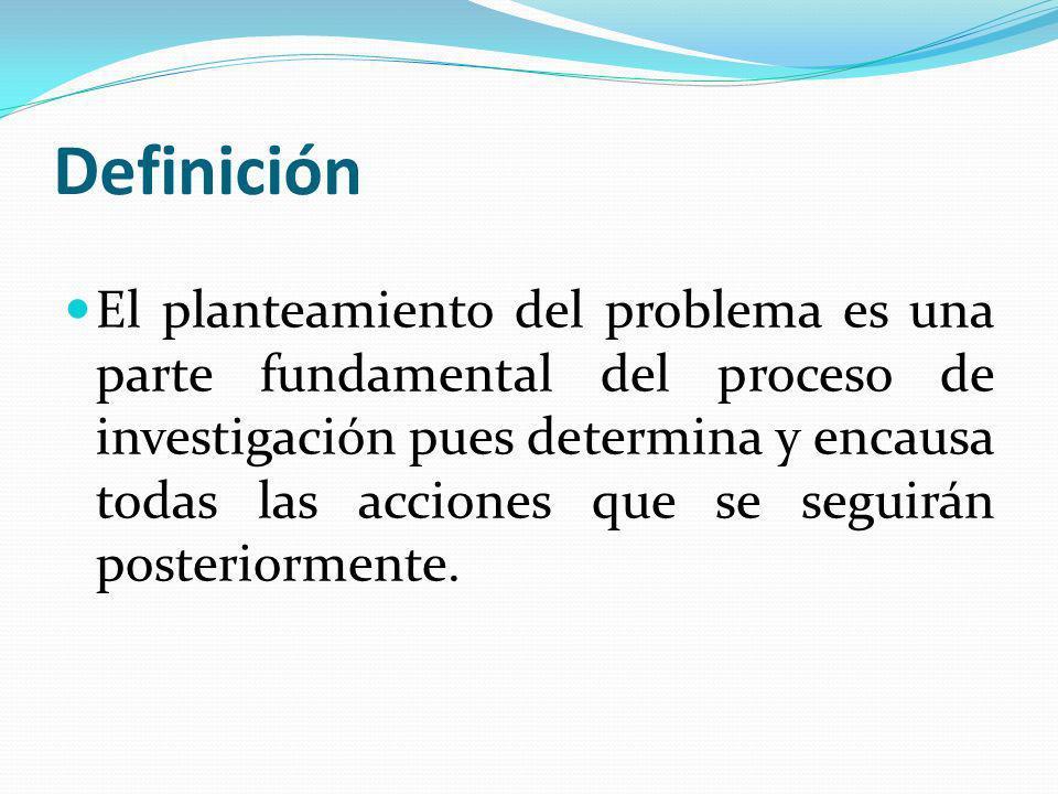 Definición El planteamiento del problema es una parte fundamental del proceso de investigación pues determina y encausa todas las acciones que se segu