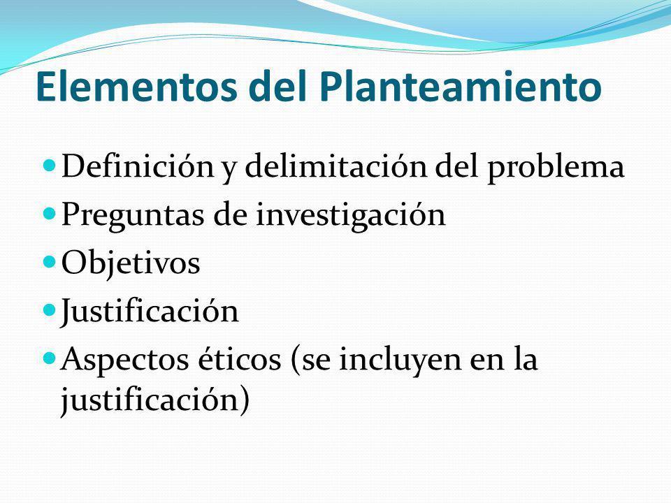 Elementos del Planteamiento Definición y delimitación del problema Preguntas de investigación Objetivos Justificación Aspectos éticos (se incluyen en