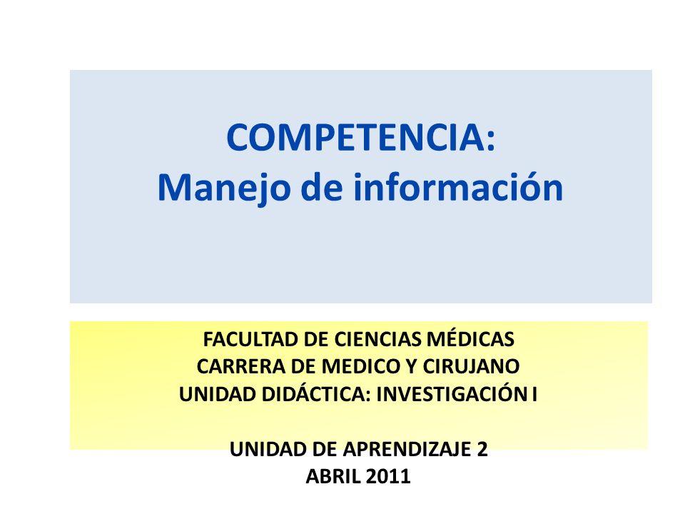 COMPETENCIA: Manejo de información FACULTAD DE CIENCIAS MÉDICAS CARRERA DE MEDICO Y CIRUJANO UNIDAD DIDÁCTICA: INVESTIGACIÓN I UNIDAD DE APRENDIZAJE 2 ABRIL 2011