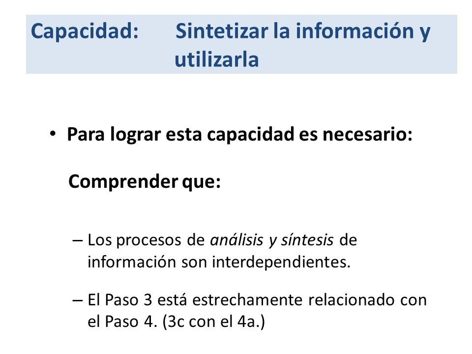 Capacidad: Sintetizar la información y utilizarla Para lograr esta capacidad es necesario: Comprender que: – Los procesos de análisis y síntesis de información son interdependientes.