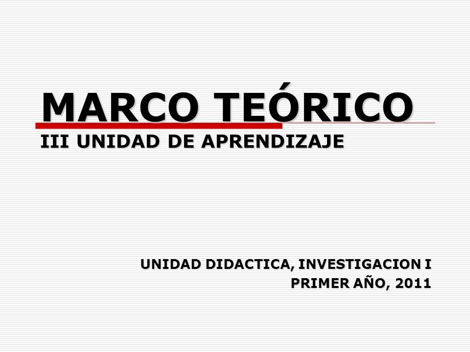 MARCO TEÓRICO III UNIDAD DE APRENDIZAJE UNIDAD DIDACTICA, INVESTIGACION I PRIMER AÑO, 2011
