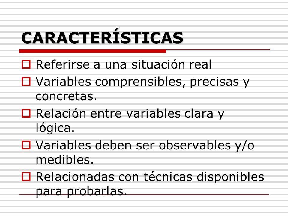 CARACTERÍSTICAS Referirse a una situación real Variables comprensibles, precisas y concretas. Relación entre variables clara y lógica. Variables deben