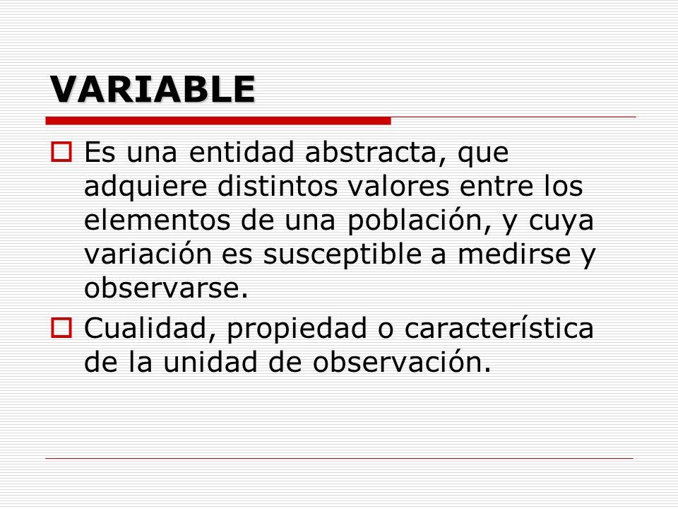 VARIABLE Es una entidad abstracta, que adquiere distintos valores entre los elementos de una población, y cuya variación es susceptible a medirse y ob