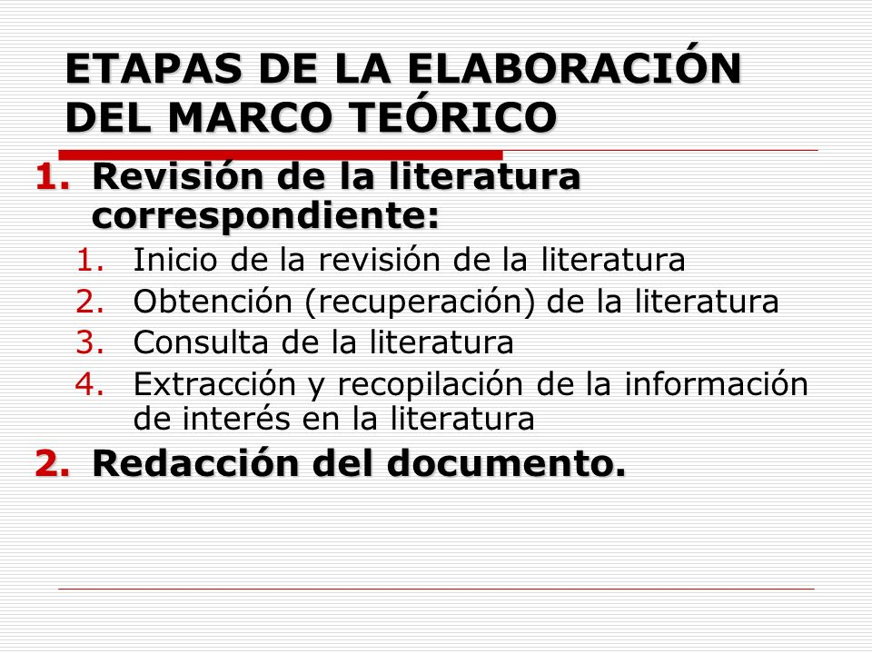 ETAPAS DE LA ELABORACIÓN DEL MARCO TEÓRICO 1.Revisión de la literatura correspondiente: 1.Inicio de la revisión de la literatura 2.Obtención (recupera