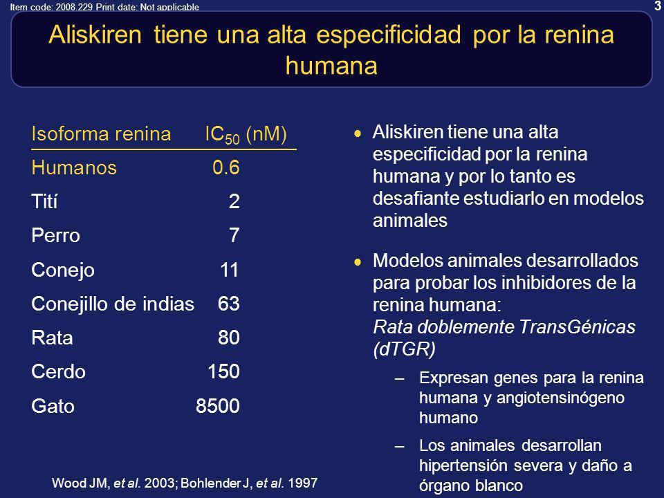 3 Item code: 2008.229 Print date: Not applicable Aliskiren tiene una alta especificidad por la renina humana Aliskiren tiene una alta especificidad por la renina humana y por lo tanto es desafiante estudiarlo en modelos animales Modelos animales desarrollados para probar los inhibidores de la renina humana: Rata doblemente TransGénicas (dTGR) –Expresan genes para la renina humana y angiotensinógeno humano –Los animales desarrollan hipertensión severa y daño a órgano blanco Isoforma renina IC 50 (nM) Humanos0.6 Tití2 Perro 7 Conejo11 Conejillo de indias63 Rata 80 Cerdo150 Gato8500 Wood JM, et al.