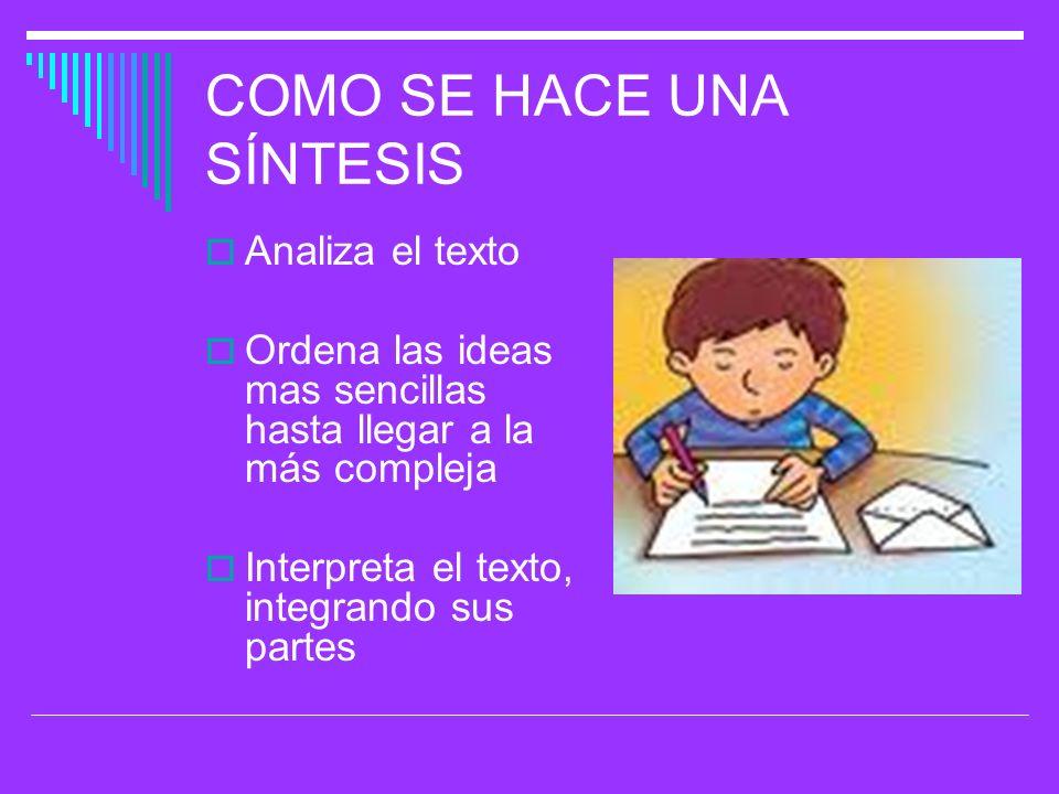 COMO SE HACE UNA SÍNTESIS Analiza el texto Ordena las ideas mas sencillas hasta llegar a la más compleja Interpreta el texto, integrando sus partes