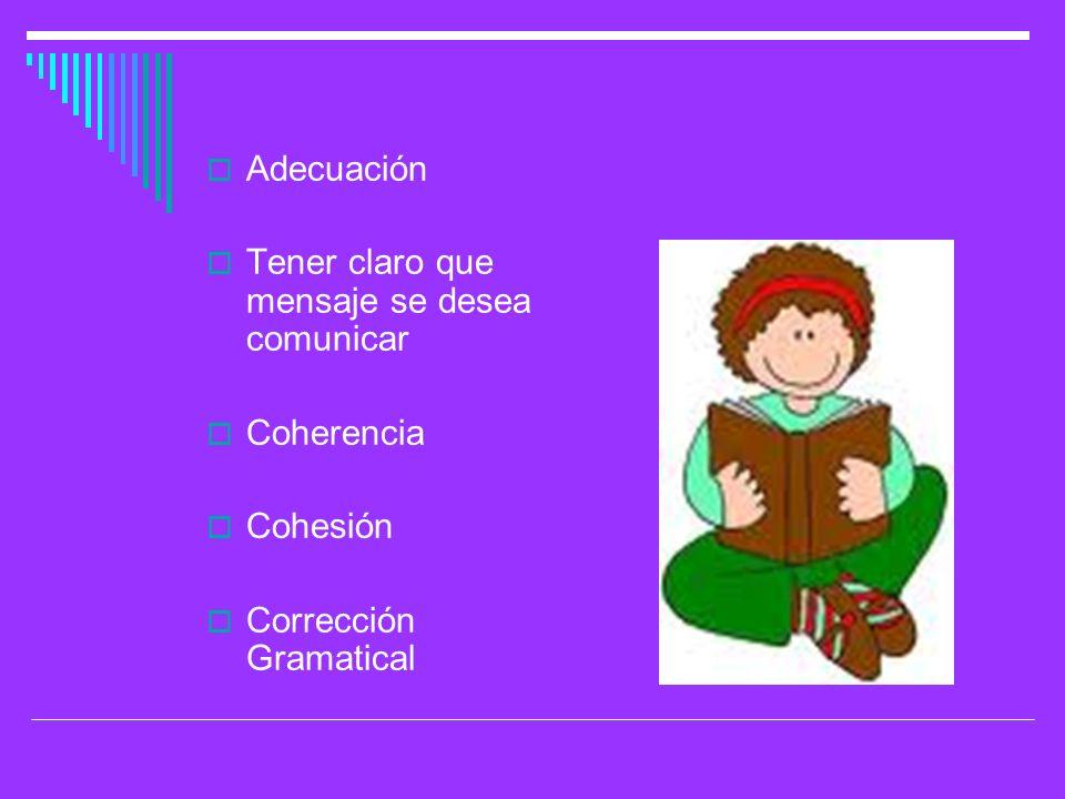 Adecuación Tener claro que mensaje se desea comunicar Coherencia Cohesión Corrección Gramatical