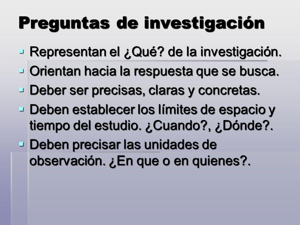 Preguntas de investigación Representan el ¿Qué.de la investigación.