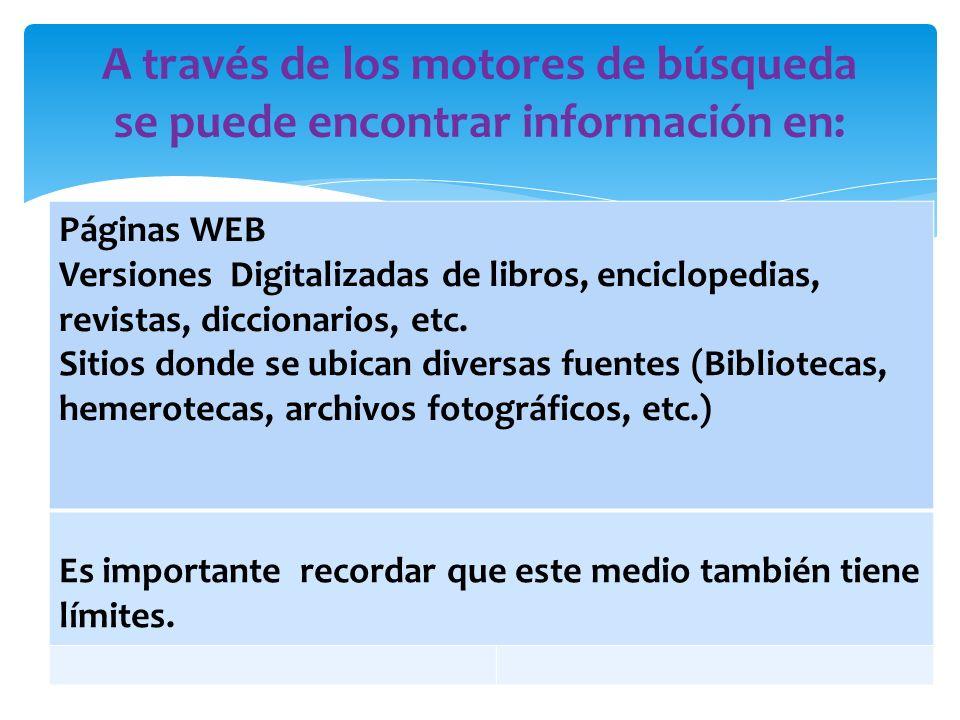 Páginas WEB Versiones Digitalizadas de libros, enciclopedias, revistas, diccionarios, etc.