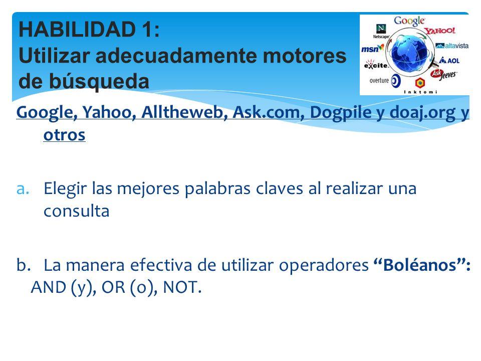 Google, Yahoo, Alltheweb, Ask.com, Dogpile y doaj.org y otros a.Elegir las mejores palabras claves al realizar una consulta b.