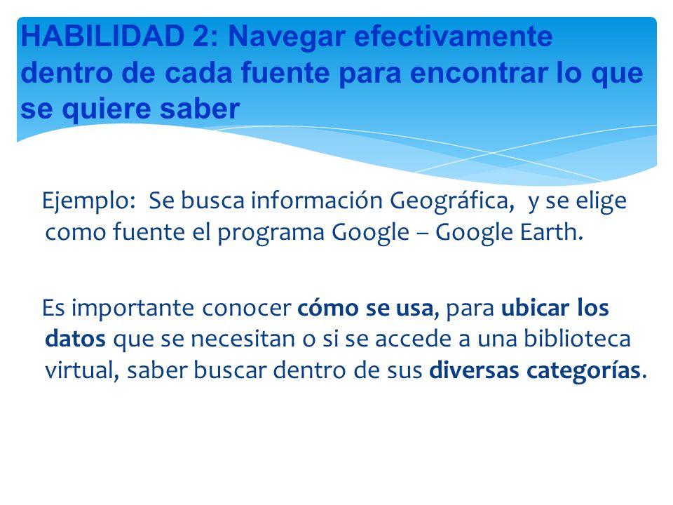 Ejemplo: Se busca información Geográfica, y se elige como fuente el programa Google – Google Earth.