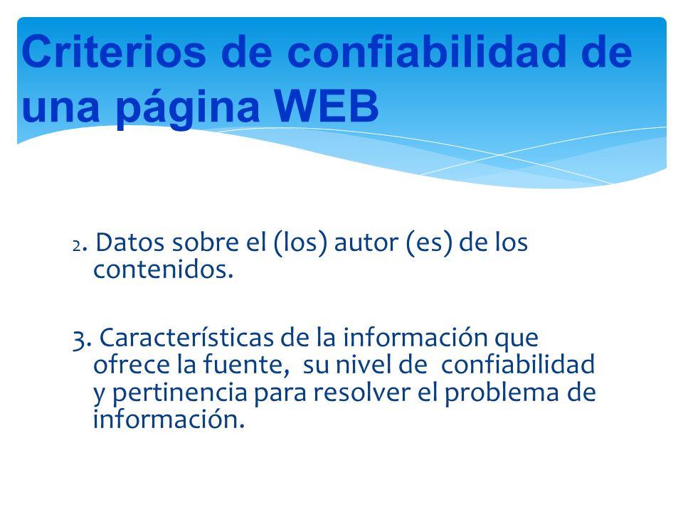 2.Datos sobre el (los) autor (es) de los contenidos.