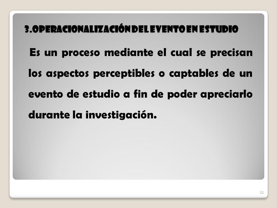 11 3.Operacionalización del evento en estudio 11 Es un proceso mediante el cual se precisan los aspectos perceptibles o captables de un evento de estu