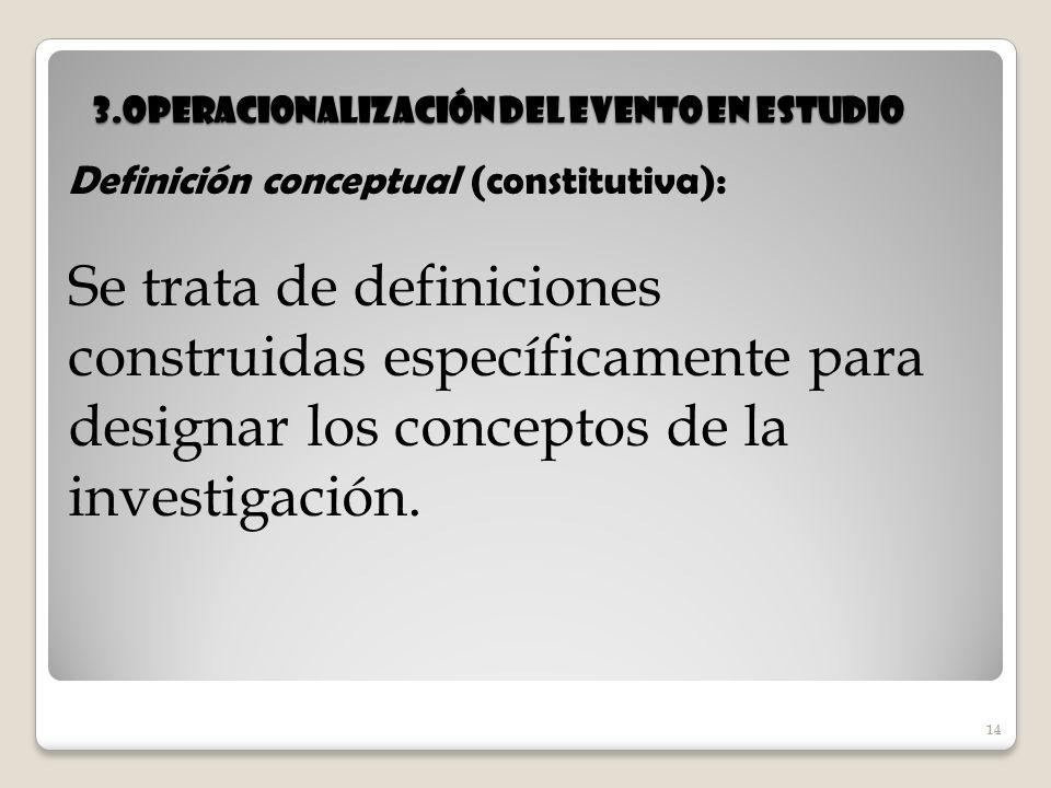 14 3.Operacionalización del evento en estudio 14 Definición conceptual (constitutiva): Se trata de definiciones construidas específicamente para desig