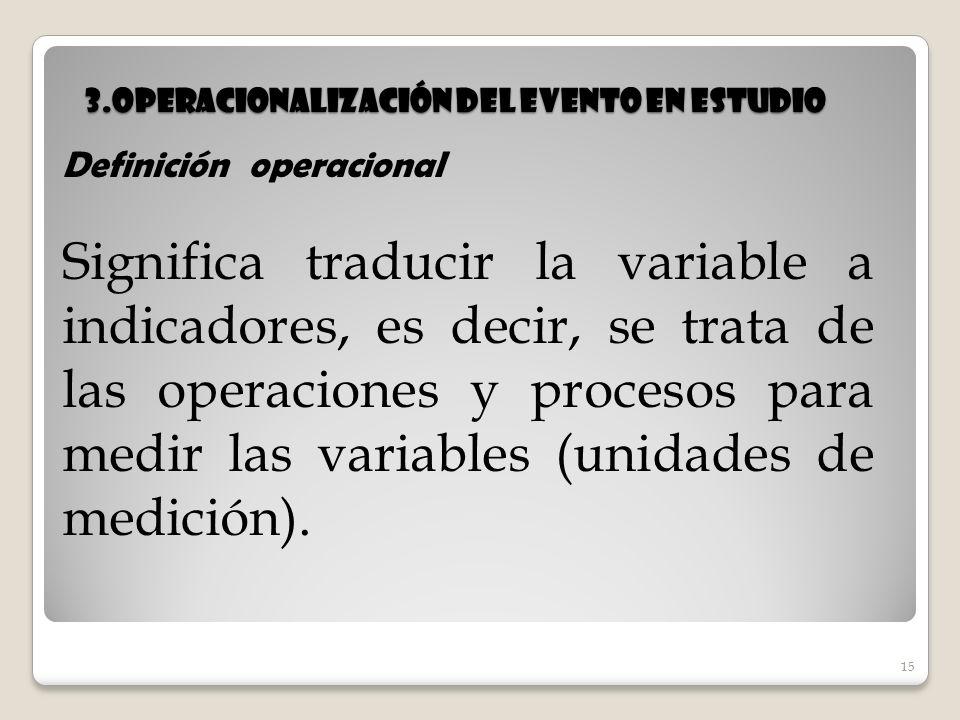 15 3.Operacionalización del evento en estudio 15 Definición operacional Significa traducir la variable a indicadores, es decir, se trata de las operac